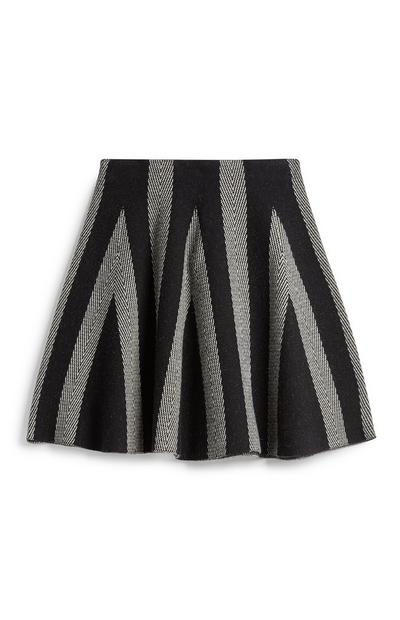 Black And White Chevron Skirt