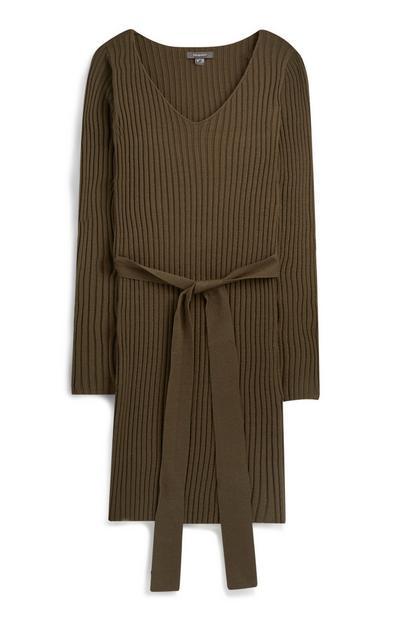 Khaki Belted Dress