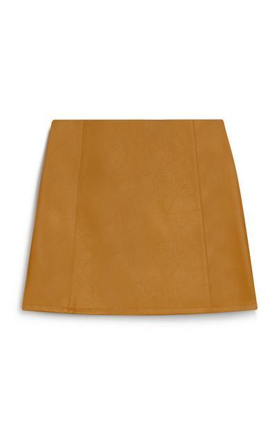 Tan PU Skirt