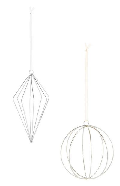 Silver Hanging Baubles 2Pk