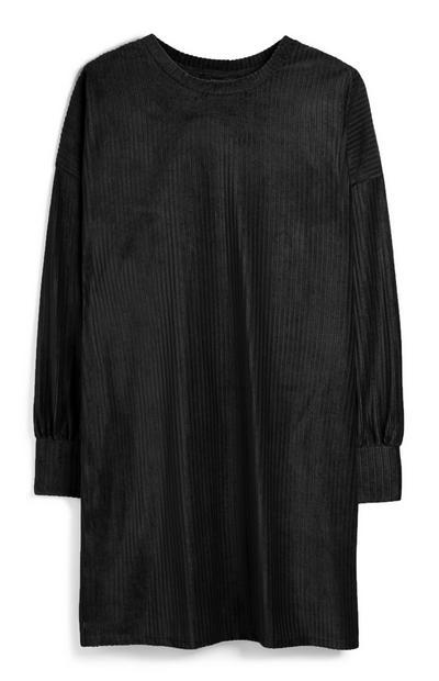 Black Corduroy Sweatshirt Dress