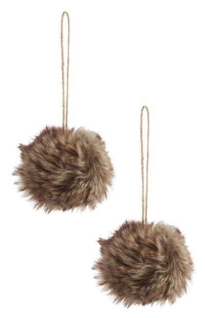 Brown Faux Fur Bauble 2Pk