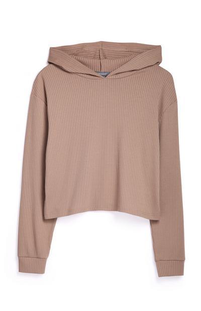 Tan Ribbed Sweatshirt