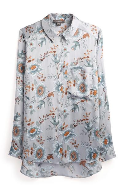 Satin Floral Bird Print Shirt