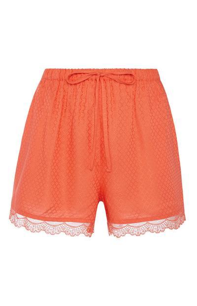 Orange Lace Pyjama Short