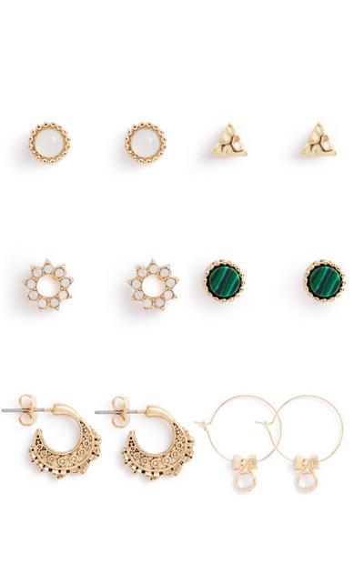 Gem Stone Earrings 6Pk