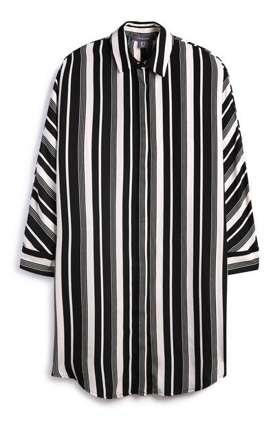 Oversized Monochrome Shirt Dress