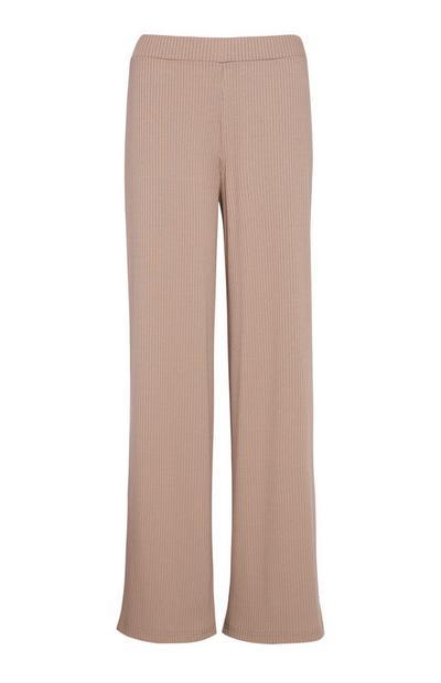 Tan Ribbed Wide Leg Trouser