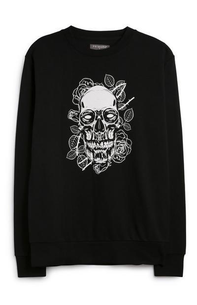 Black Skull Print Jumper