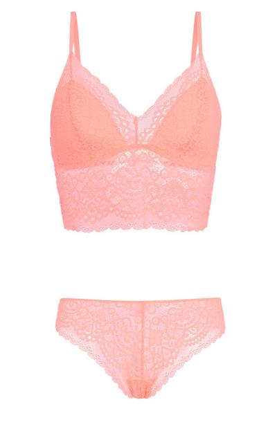 Coral Lace Bralette And Brief Set