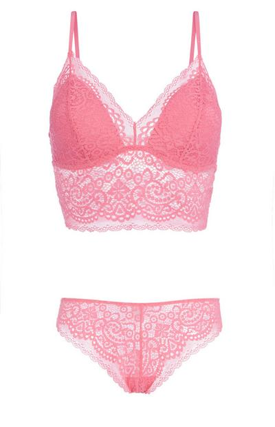 Pink Lace Bralette And Brief Set