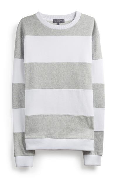 Grey And White Stripe Jumper