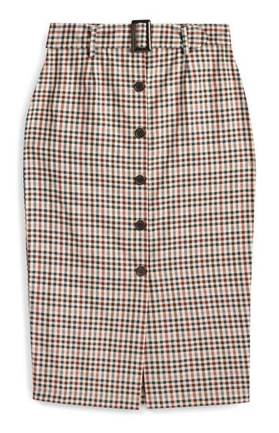 Check Belted Midi Skirt