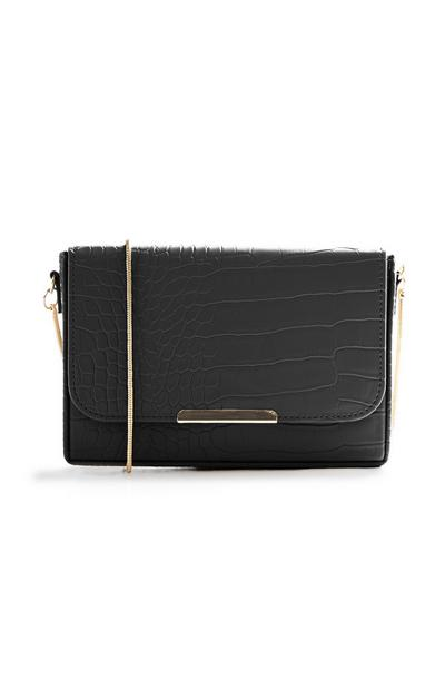 Black Croc Texture Bag