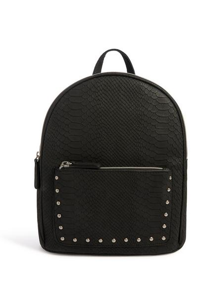Black Croc Texture Backpack