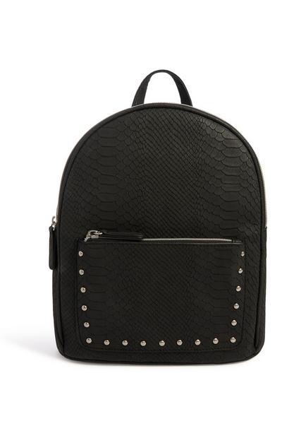 Black Croc Texture Backpack