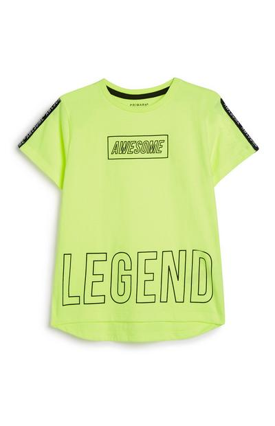 Younger Boy Neon Slogan T-Shirt