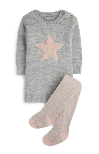 Baby Girl Knit Dress And Tights