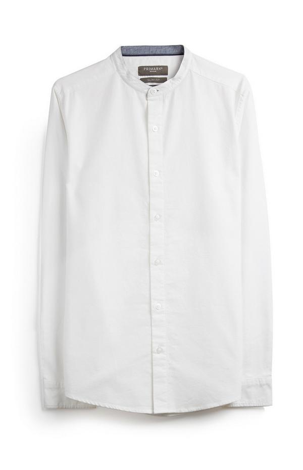 White Long Sleeve Grandad Shirt