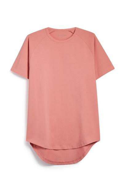 Langes rosafarbenes T-Shirt