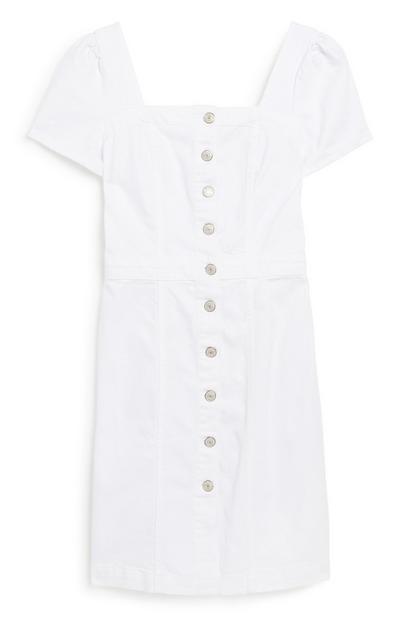 White Denim Midi Dress