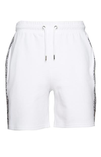 White Snake Print Shorts