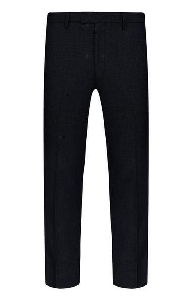 Schwarze Hose mit Basketweave-Struktur