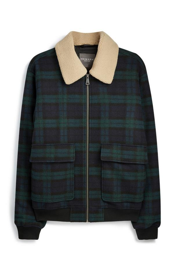Green Check Borg Jacket