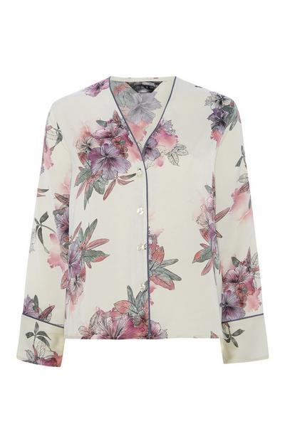 Satin Floral Pyjama Top