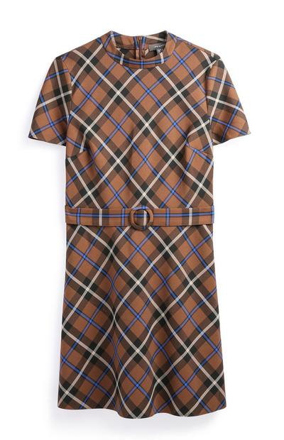 Brown Check Belted Dress