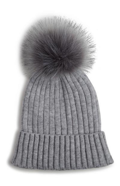 Grey Faux Fur Beanie