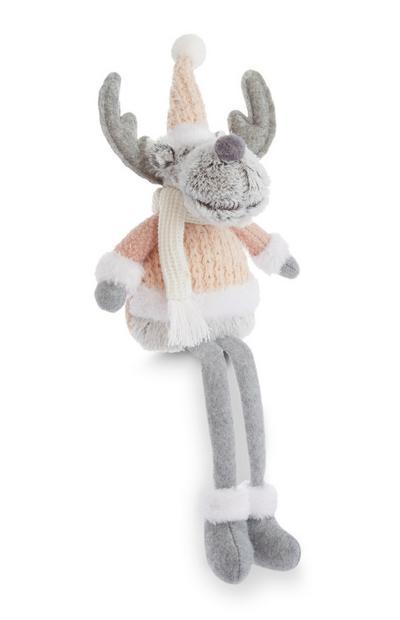 Grey Sitting Reindeer