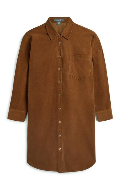 Tan Longline Corduroy Shirt