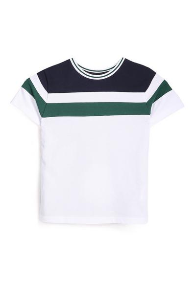 Younger Boy White Striped T-Shirt