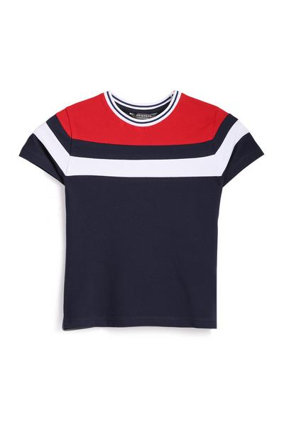 Younger Boy Navy Striped T-Shirt