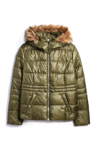 Khaki High Shine Padded Coat