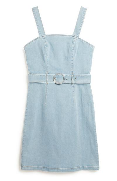 Blue Denim Belted Dress