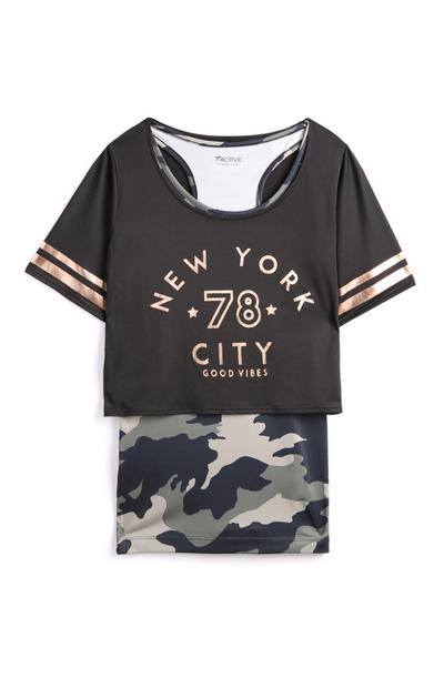 Older Girl Double Layer Camo T-Shirt