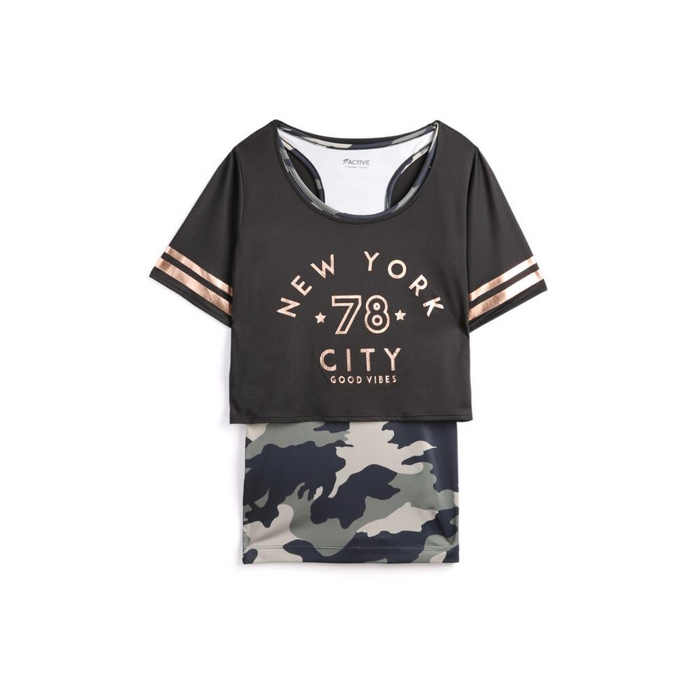 f02ee1dfbc4b Older Girl Double Layer Camo T-Shirt | Older Girls Tops & Jumpers ...