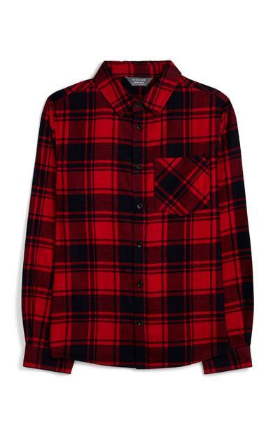Older Boy Red Tartan Shirt