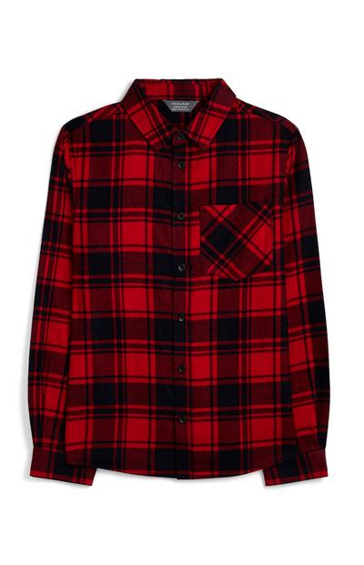 Older Boy Red Tartan Shirt