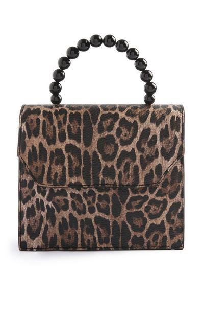Leopard Print Bead Handle Bag