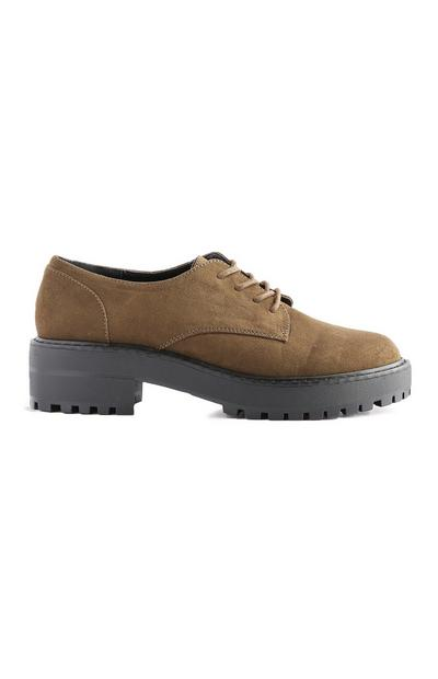 Khaki Chunky Lace Up Shoe