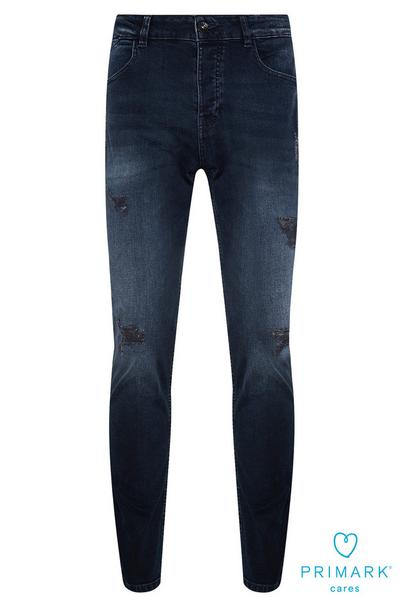 Dark Blue Ripped Sustainable Cotton Jeans