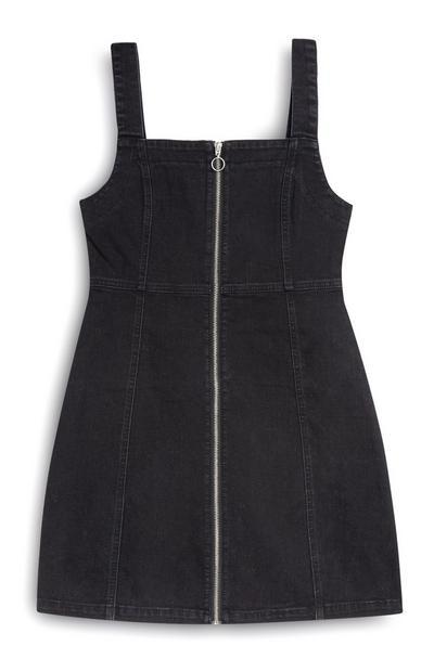 Black Denim Bodycon Zip Dress