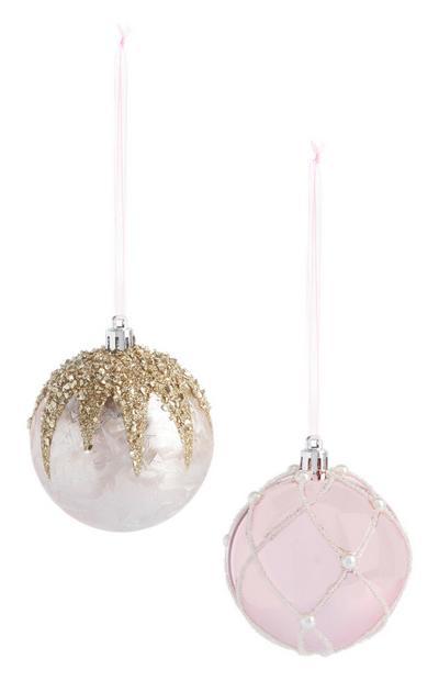 Pink Glitter Bauble 2Pk