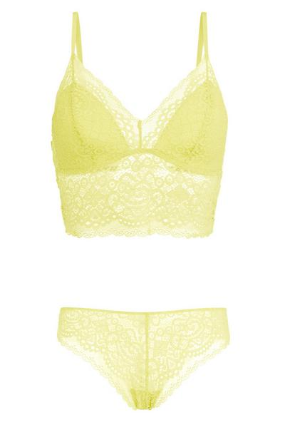 Lime Lace Bralette And Brief Set