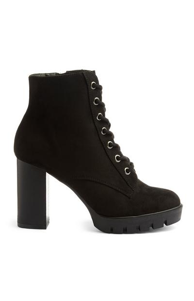 Black Heel Lace Up Boots