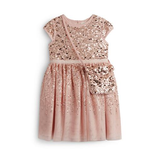 online for sale arrives later Younger Girl Pink Sequin Sparkly Dress With A Matching Bag ...