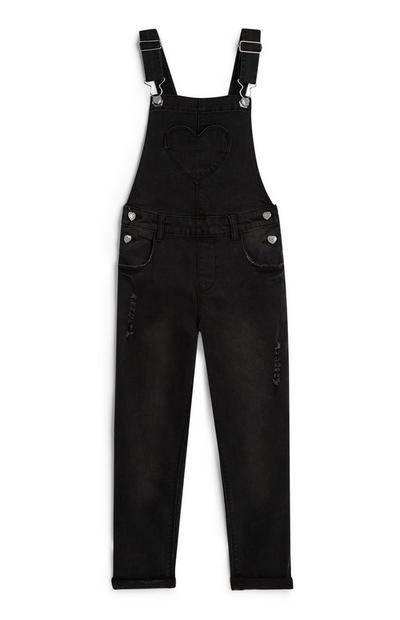 Younger Girl Black Dungarees